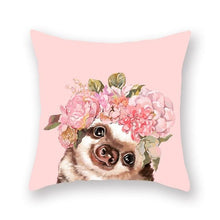 Load image into Gallery viewer, Floral Tiara Pug and Friends Cushion CoversCushion CoverOne SizeHamster
