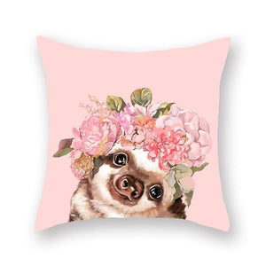 Floral Tiara Pug and Friends Cushion CoversCushion CoverOne SizeHamster