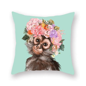 Floral Tiara Pug and Friends Cushion CoversCushion CoverOne SizeMonkey