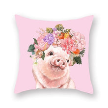 Load image into Gallery viewer, Floral Tiara Pug and Friends Cushion CoversCushion CoverOne SizePig