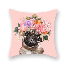 Load image into Gallery viewer, Floral Tiara Pug and Friends Cushion CoversCushion CoverOne SizePug