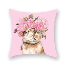 Load image into Gallery viewer, Floral Tiara Pug and Friends Cushion CoversCushion CoverOne SizeRabbit