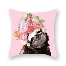 Load image into Gallery viewer, Floral Tiara Pug and Friends Cushion CoversCushion CoverOne SizeRacoon