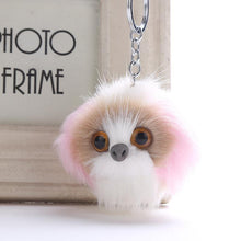 Load image into Gallery viewer, Fluffy Shih Tzu Love KeychainsAccessoriesBrown and Pink