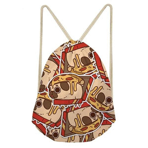 Foodie Pugs Drawstring BagAccessoriesPizza Pug