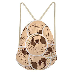 Foodie Pugs Drawstring BagAccessoriesPugs in Bubble with Burgers & Pizzas