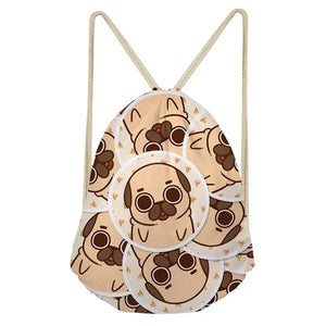 Foodie Pugs Drawstring BagAccessoriesPugs in Bubble with Pizza Slices