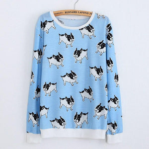 French Bulldog Love Thin SweatshirtT shirtBlueOne Size