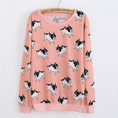 French Bulldog Love Thin SweatshirtT shirtPinkOne Size