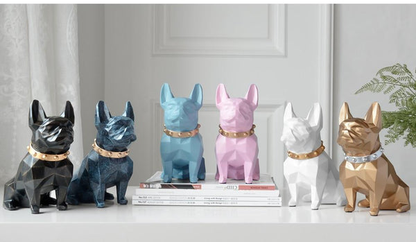 Image of six French Bulldog statues in different colors