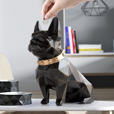 French Bulldog Resin Piggy Bank Statue in Black