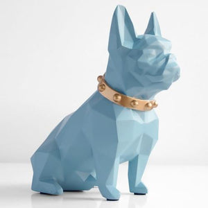 Abstract French Bulldog Resin Piggy BankHome DecorBlue