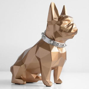 Abstract French Bulldog Resin Piggy BankHome DecorGold