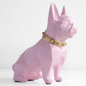 Abstract French Bulldog Resin Piggy BankHome DecorPink