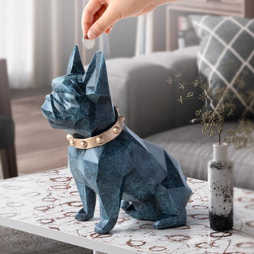 Abstract French Bulldog Resin Piggy BankHome DecorTexture Blue