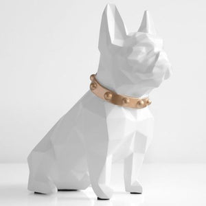 Abstract French Bulldog Resin Piggy BankHome DecorWhite