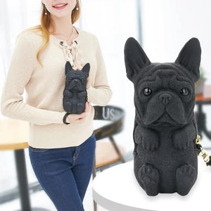 French Bulldog Shaped ClutchBagBlackOne Size