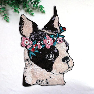 "Garland Boston Terrier Sequinned Sew On PatchPatch11"" x 7"""