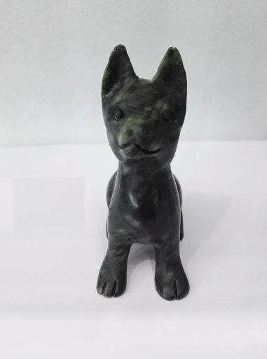 German Shepherd Love Natural Jade FigurineHome Decor