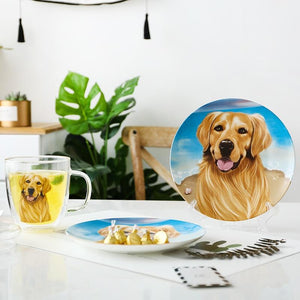 "Golden Retriever Love 8"" Bone China Decorative Dinner PlateHome Decor"