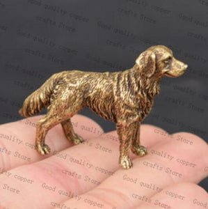 Golden Retriever Love Miniature Brass FigurineHome Decor