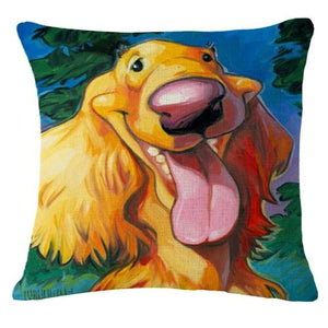 Goofy Golden Retriever Cushion CoverCushion CoverOne SizeCocker Spaniel