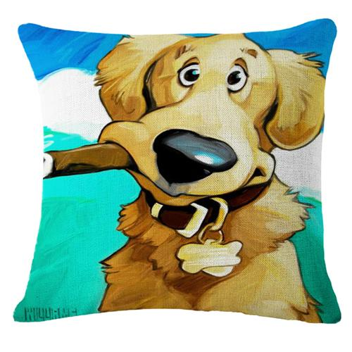Goofy Painting Cigar Golden Retriever Cushion Cover - Series 2Cushion CoverOne SizeGolden Retriever