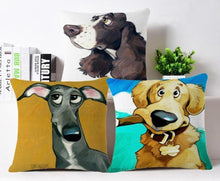 Load image into Gallery viewer, Goofy Painting Whippet / Greyhound Cushion Cover - Series 2Cushion Cover