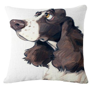 Goofy Painting Whippet / Greyhound Cushion Cover - Series 2Cushion CoverOne SizeCocker Spaniel - Side Face Profile