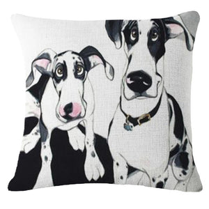 Goofy Painting Whippet / Greyhound Cushion Cover - Series 2Cushion CoverOne SizeDalmatian - Two Dalmatians