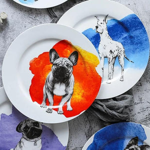 "Great Dane Love 10"" Bone China Dinner PlatesHome Decor"