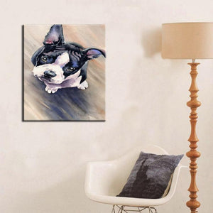 Hand Painted Curious Boston Terrier Canvas Art Oil PaintingHome Decor