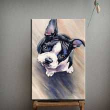 Load image into Gallery viewer, Hand Painted Curious Boston Terrier Canvas Art Oil PaintingHome DecorSmall