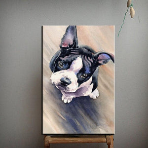 Hand Painted Curious Boston Terrier Canvas Art Oil PaintingHome DecorSmall