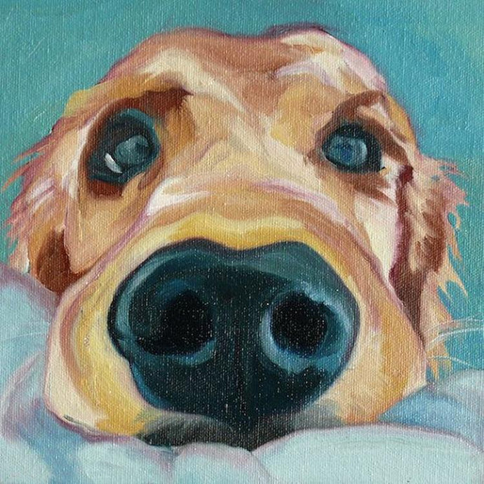 Hand Painted Curious Golden Retriever Canvas Art Oil PaintingHome DecorLarge