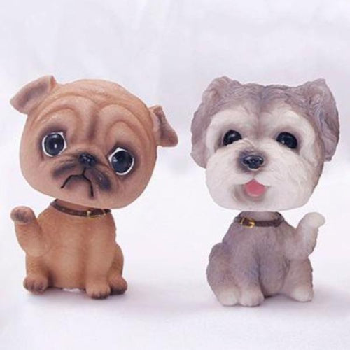 Hand Waving Schnauzer and Pug Miniature Car BobbleheadsCar Accessories