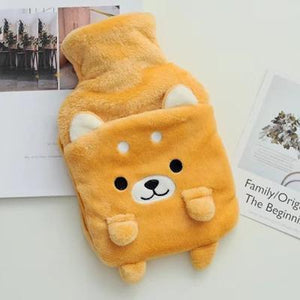 Happy Doggo Plush Hot Water Bottle Cover with Hand Warmer Bag iLoveMy.Pet Orange
