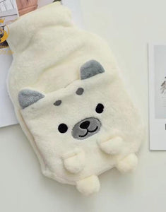 Happy Doggo Plush Hot Water Bottle Cover with Hand Warmer Bag iLoveMy.Pet White