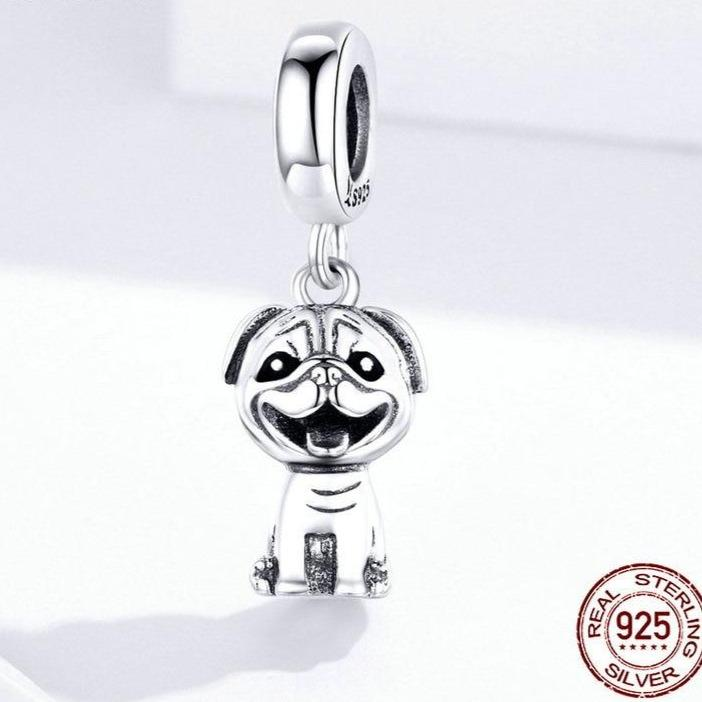 Happy Pug Love Silver PendantDog Themed Jewellery