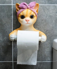 Load image into Gallery viewer, Headscarf Bow Pug Toilet Roll HolderHome DecorBowtie Headscarf Cat