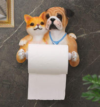 Load image into Gallery viewer, Headscarf Bow Pug Toilet Roll HolderHome DecorCat and English Bulldog