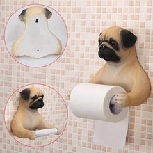 Load image into Gallery viewer, Headscarf Bow Pug Toilet Roll HolderHome DecorPug