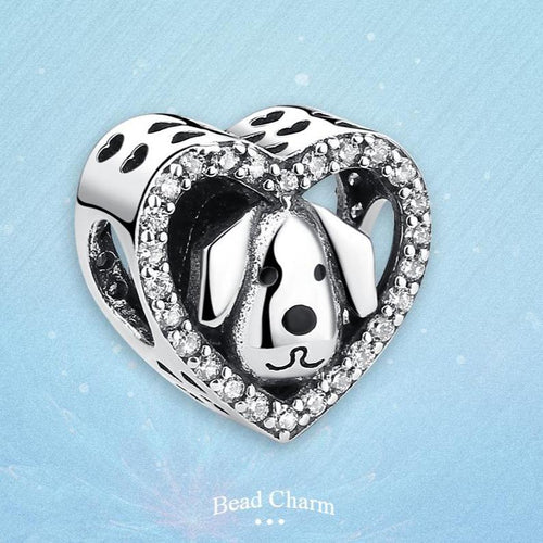 Heart-Shaped Beagle Silver Charm BeadDog Themed Jewellery