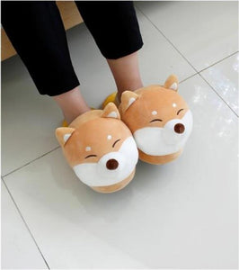 Husky and Shiba Inu Love Warm Indoor SlippersFootwear