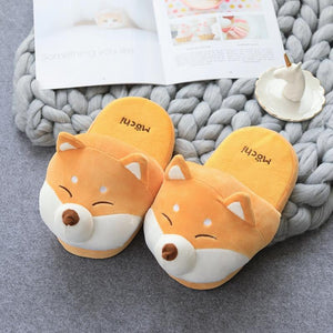 Husky and Shiba Inu Love Warm Indoor SlippersFootwearShiba Inu9