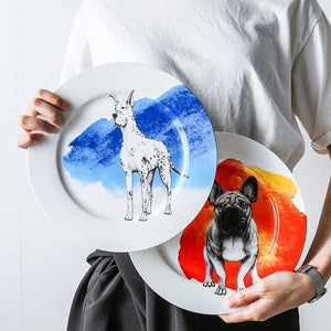"Husky Love 10"" Bone China Dinner PlatesHome Decor"