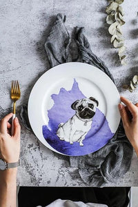 "Husky Love 10"" Bone China Dinner PlatesHome DecorPug"