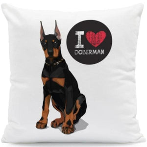 I Heart My Boston Terrier Cushion CoversCushion CoverOne SizeDoberman