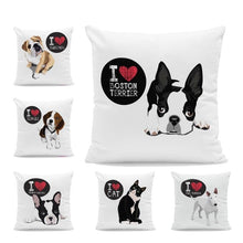 Load image into Gallery viewer, I Heart My English Bulldog Cushion CoverCushion Cover