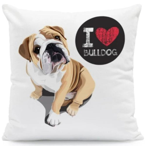 I Heart My English Bulldog Cushion CoverCushion CoverOne SizeEnglish Bulldog